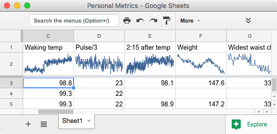 Screen shot of a Google Sheet in a Fluid app container with personal metrics in it.